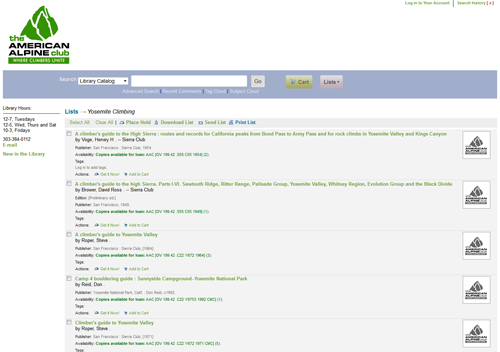 American Alpine Club Library Catalog › Contents of Yosemite Climbing.png